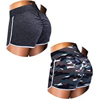 URATOT 2 Pack Scrunch Booty Butt Lifting Hot Pants Women's Gym Workout Yoga Shorts Sexy High Waist Shorts