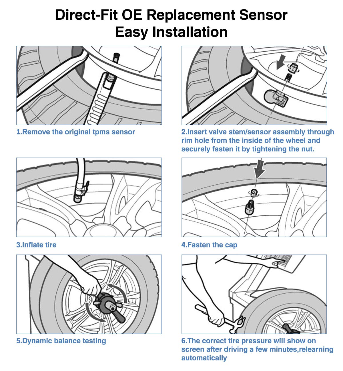 HOTSTSTEM 13586335,13598771,15922396,20923680,25799331,Tire Pressure Monitoring Sensor TPMS 315HMz for Buick Chevrolet Cadillac GMC Pontiac Saturn Suzuki Hummer 4-pack