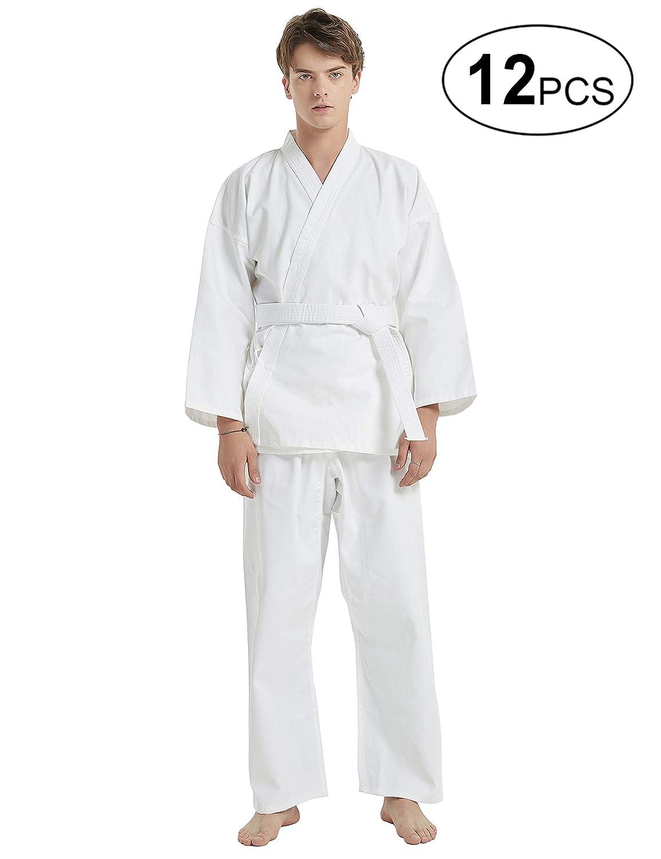 ベルトセット 学生の子供と大人のためのミドル級GiとTOPTIE 12個格闘技ホワイト空手服 B07RF6WHQ5 ホワイト Suit Size 0000