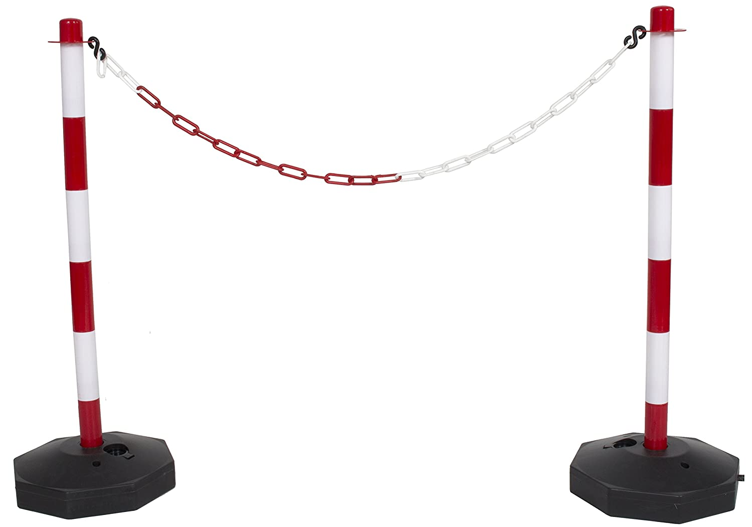 6 Pack Red /& White Plastic Chain Post Set Demarcation Safety Chain Barrier Post Pole with Base and 15mtr Plastic Chain