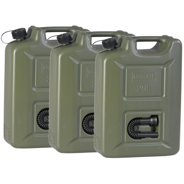 3er Set Benzinkanister 20 Liter Kraftstoffkanister olivgrün 20L UN-Zulassung Diesel Benzin MM Exclusiv