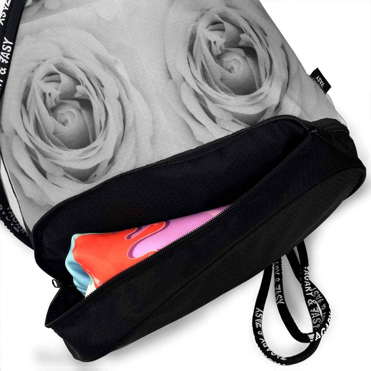 Drawstring Backpack Rose Grey Gym Bag