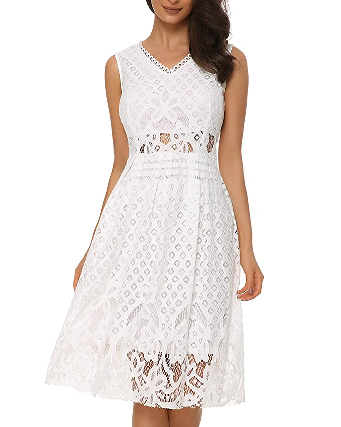 Amazon.com: Womens V-Neck Vintage Floral Lace Sleeveless Cocktail Party Midi Dress: Clothing