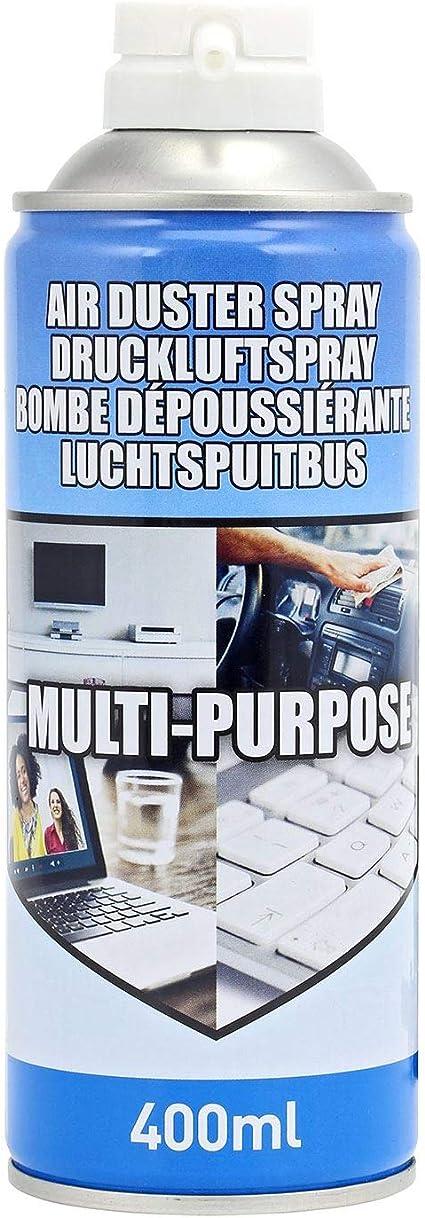 Plumero de aire (400 ml) para teclados, impresoras, componentes de computadora y otros equipos de oficina, limpiador de portátil, kit de limpieza de ...