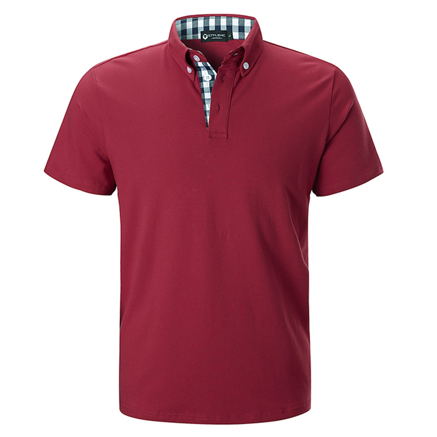 STTLZMC Men's Short Sleeve Polo Shirts Casual Fit Golf Solid Color Tops,Red,Large