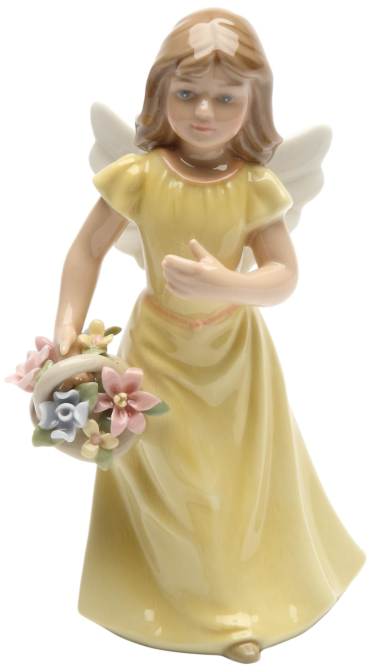 Cosmos Gifts 20862 Angel in Yellow Dress Holding Flowers Ceramic Figurine, 5-3/8-Inch