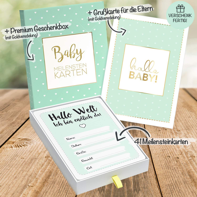 gratis Gl/ückwunschkarte 40+1 Baby Meilensteinkarten f/ür Jungen und M/ädchen in veredeltem Geschenkkarton als perfektes Geschenk zur Geburt oder Babyparty