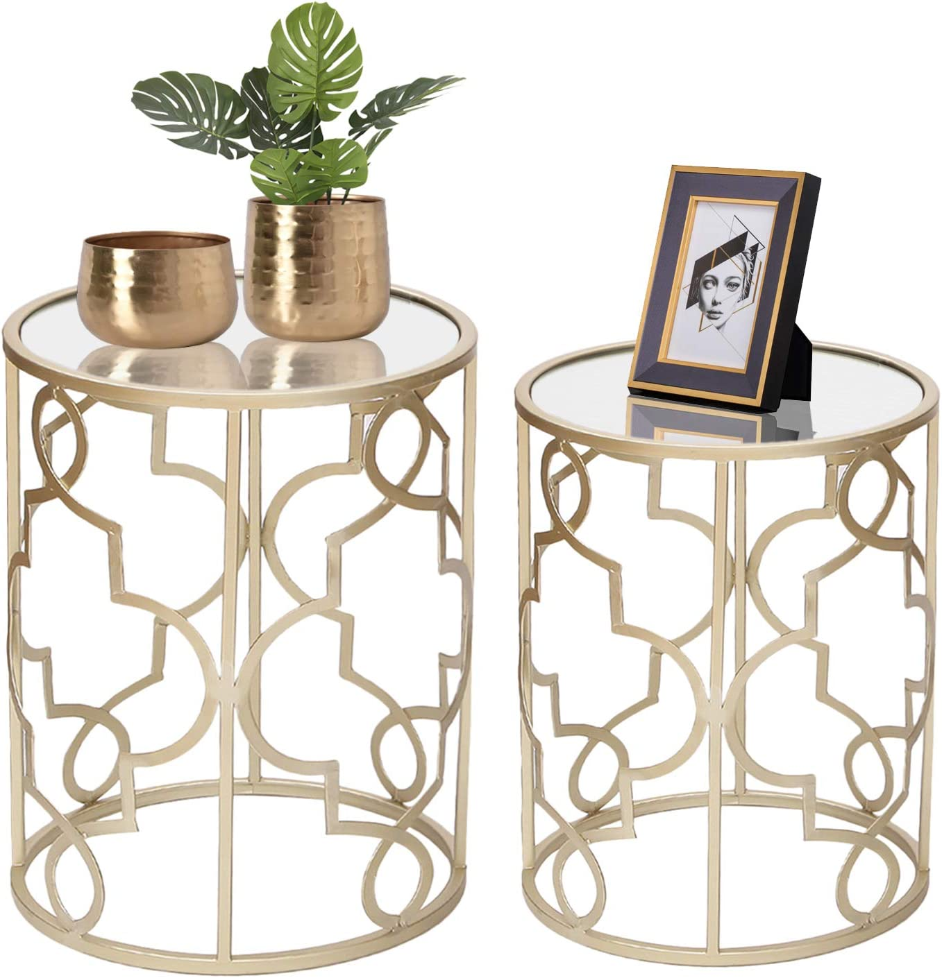 Joveco End Tables Set of 2- Light Champagne Gold Side Tables Elegant Coffee Table Nightstands Stools- Accent Nesting Side Tables for Living Room Bedroom and Entryway