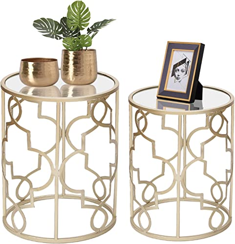 Adeco Classic Side Set 2 Pcs -Gold Nesting Tables,