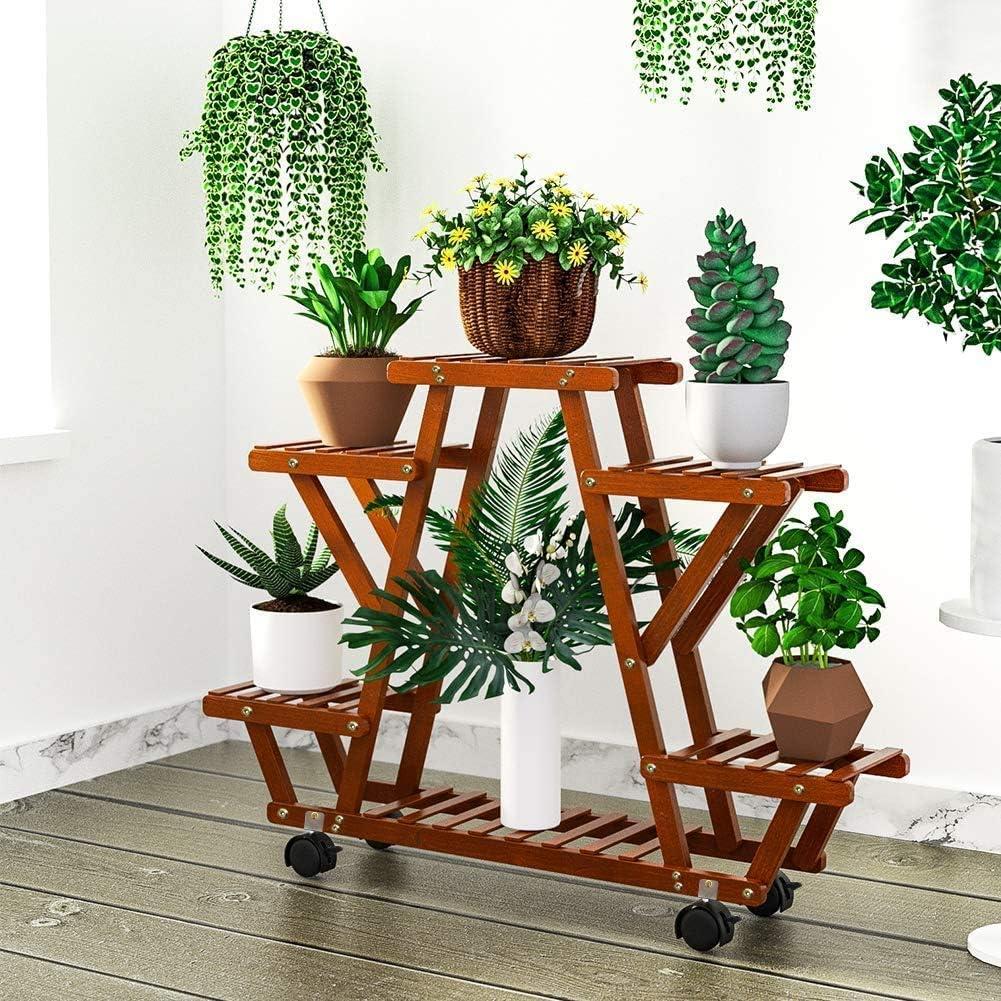 Jardin Supports De Pots Yealeo Etagere A Fleurs En Bambou Porte Pot De Plantes Avec 6 Tablettes Pour Rangement Escalier Presentoire De Jardin Pour Balcon Terrasse Salon 87 X 72 X 25cm