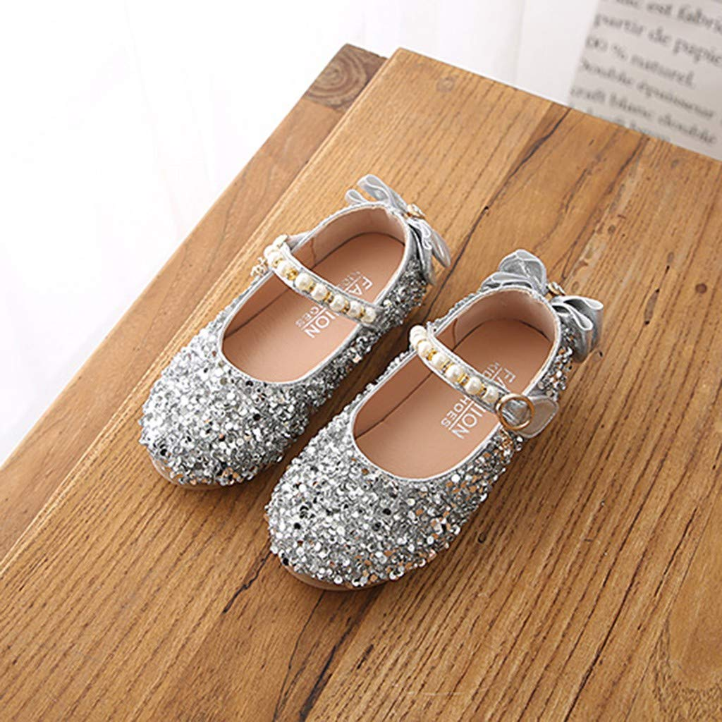 Girls Toddler Summer Shoes Ballerina Flat Wedding Dress Shoes Kids Party Dance Crystal Bowknot Mary Janes Shoes Memela