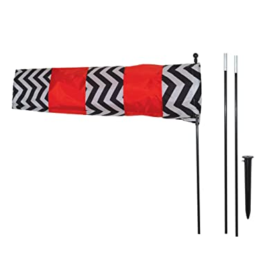 In the Breeze 4884 Directional Windsock with 8' Pole, Red, Black and White : Garden & Outdoor