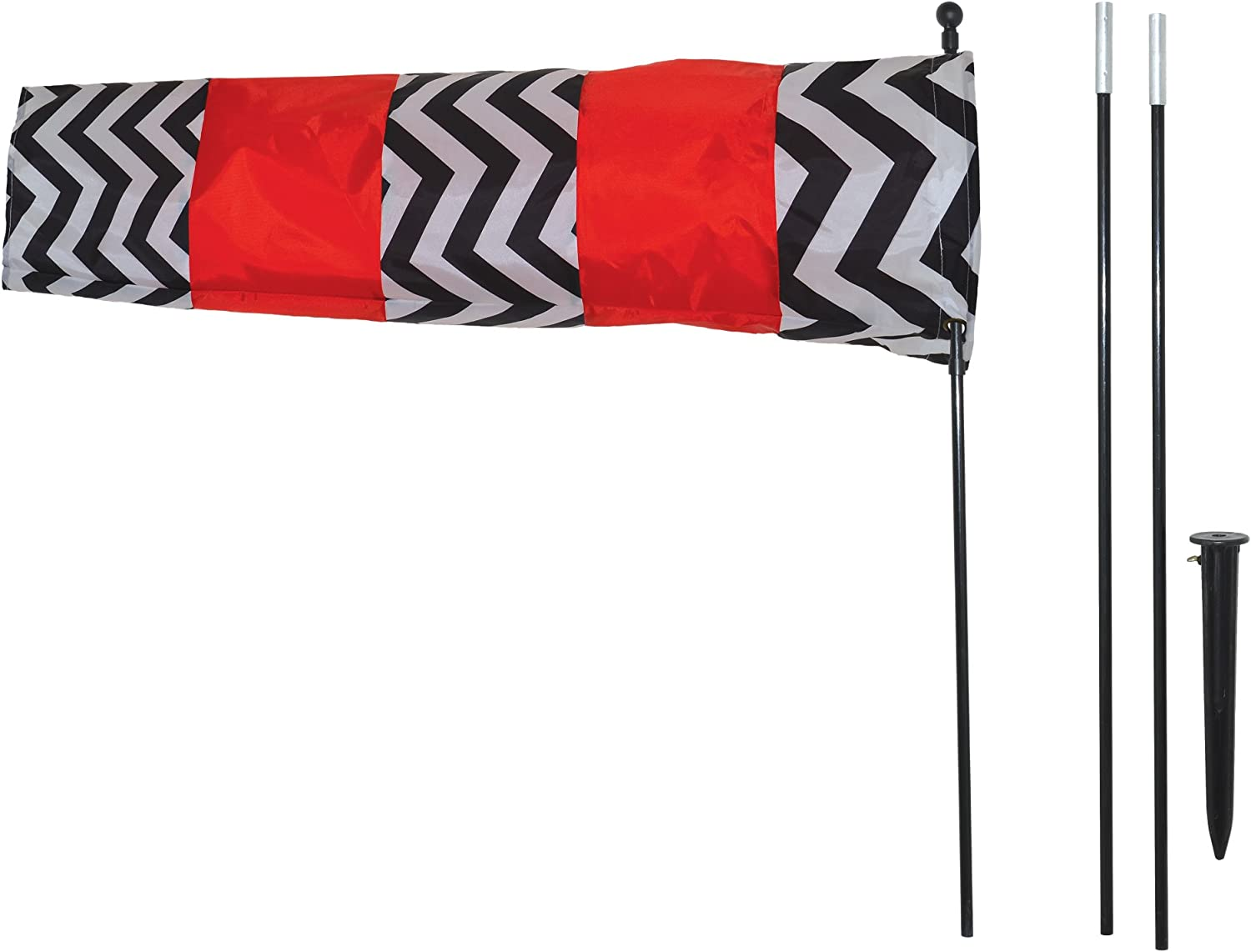 In the Breeze 4884 Directional Windsock with 8' Pole, Red, Black and White
