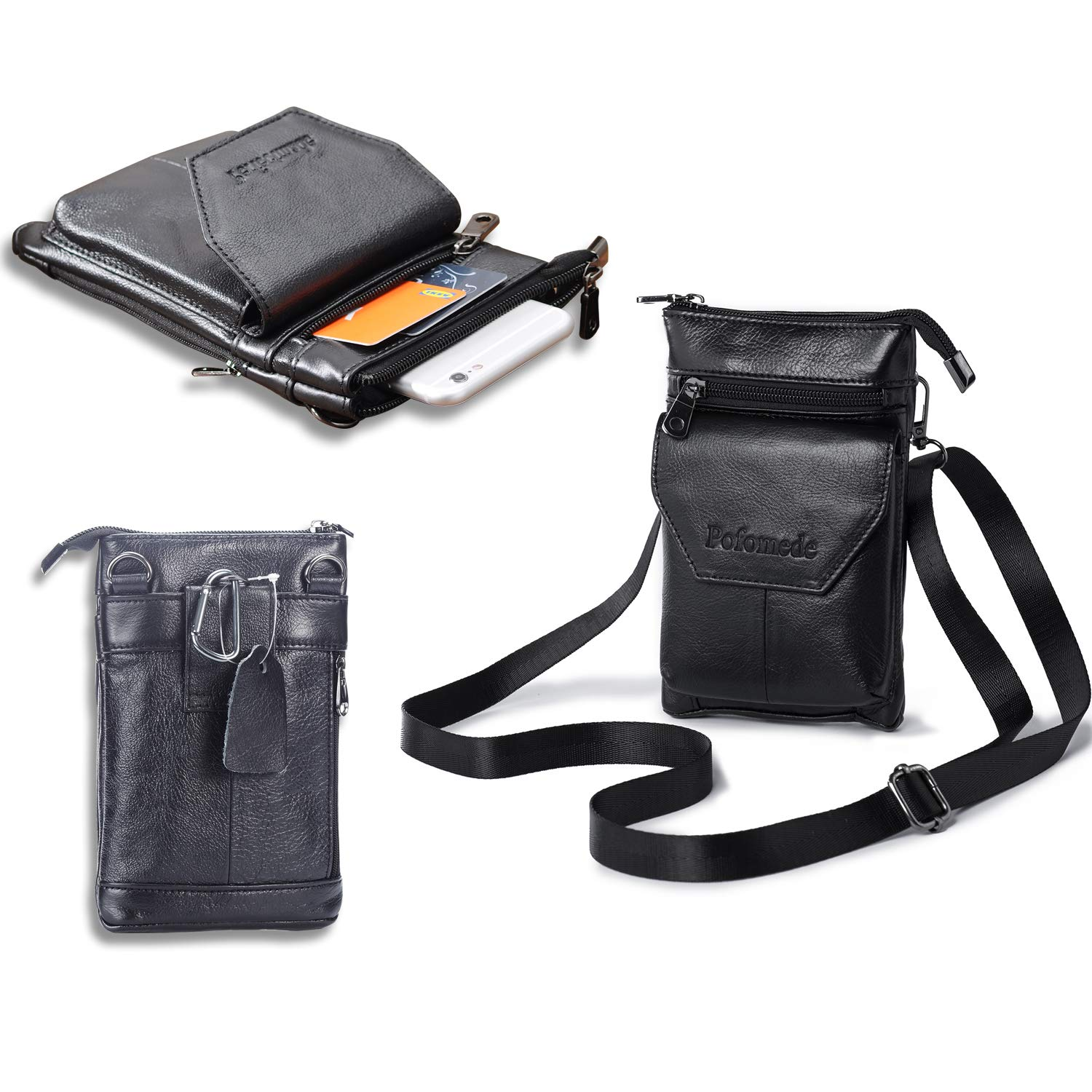 Pofomede Genuine Leather Belt Pouch Case with Belt Clip for iPhone 11 Pro Max, iPhone Xs Max 7 Plus 8 Plus 6s Plus, Small Crossbody Purse Bag Waist Cell Phone Holder(Black)
