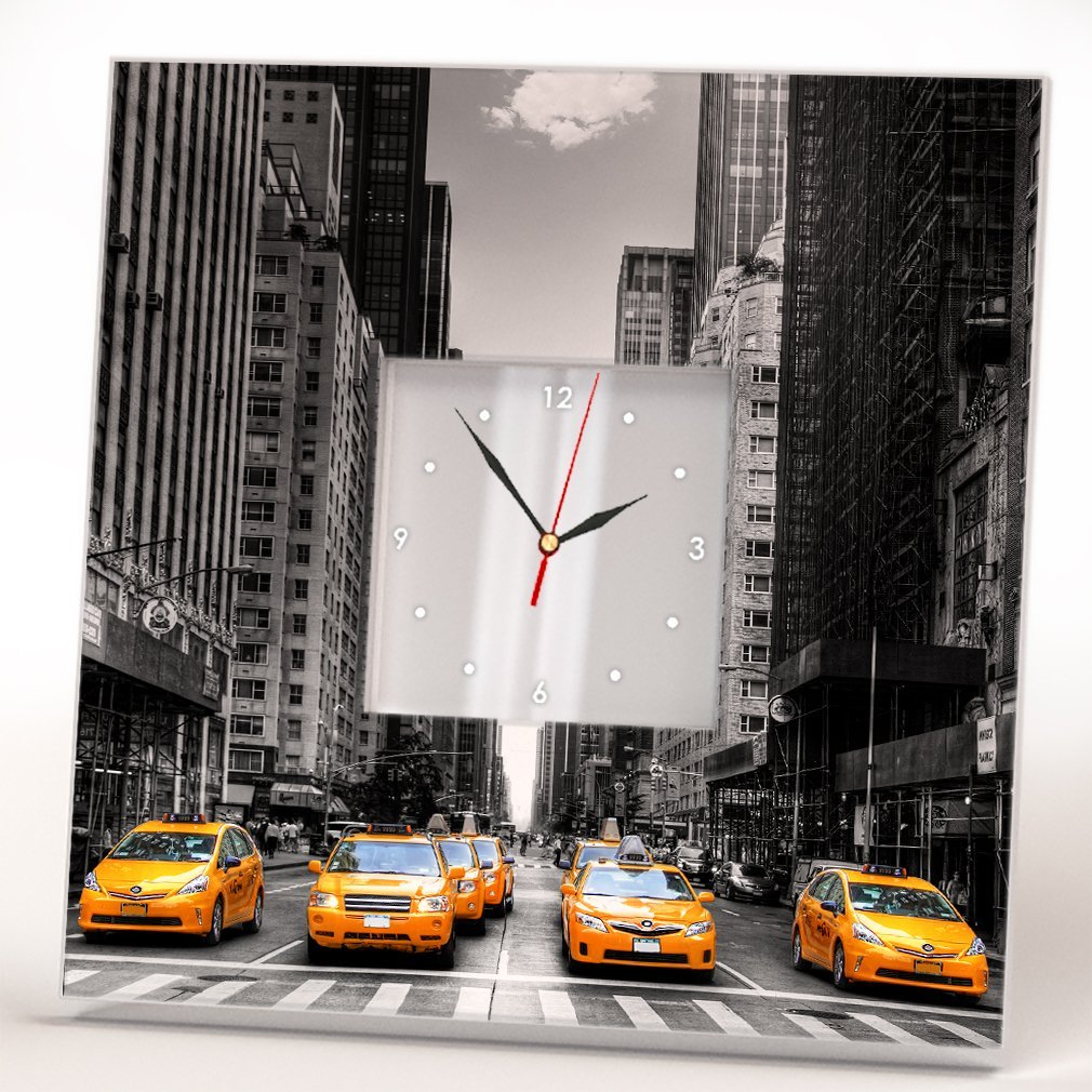 Manhattan Yellow Cab New York Taxi Wall Clock Framed Mirror Printed Decor Fan Art Home Design Gift