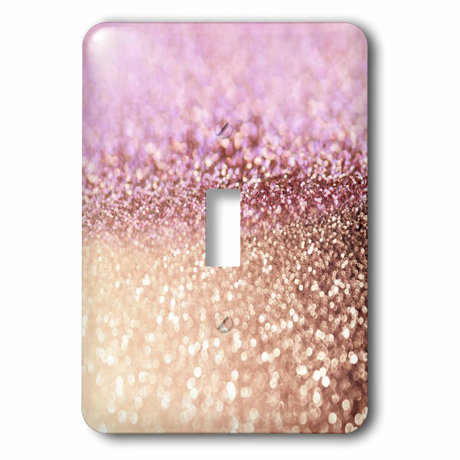 3dRose (lsp_272849_1) Single Toggle Switch (1) Sparkling Rose Gold Pink Luxury Shine Girly Elegant Mermaid Glitter