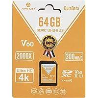 Amplim UHS-II SD Card: Ultra Fast 285MB/s (1900X), V60, U3, Class 10 SDXC Memory Card for 4K, Full HD, 3D, HDR, 360…