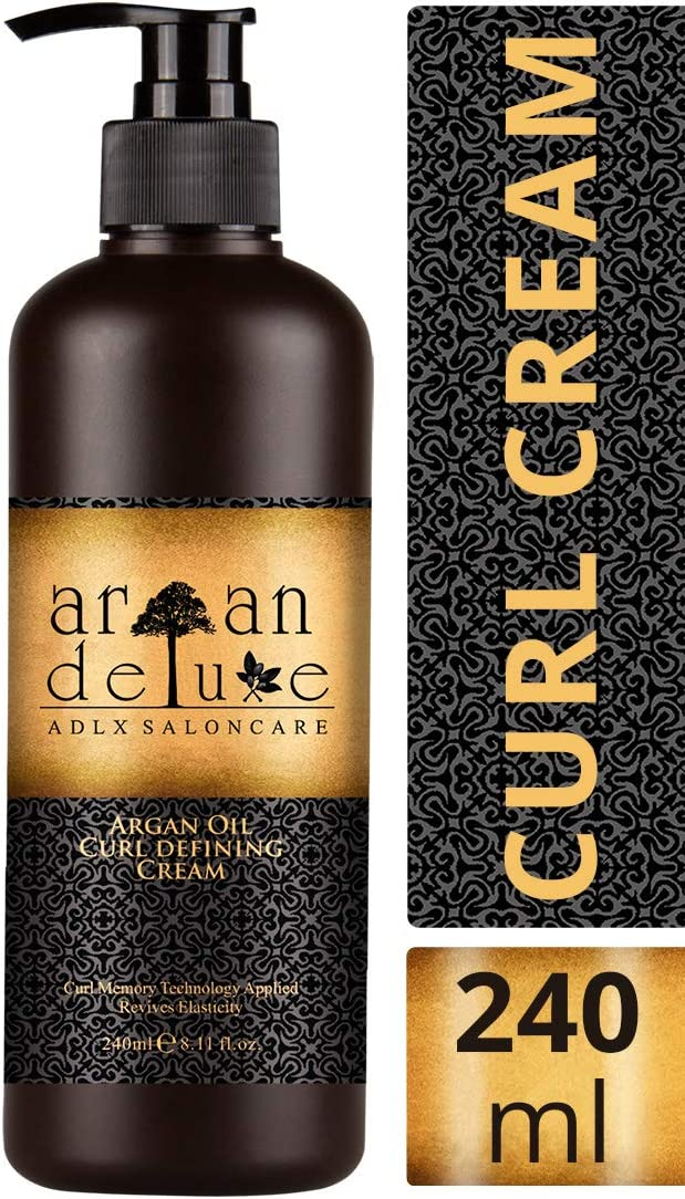 Crema de aceite de argán definidora de rizos con acabado de peluquería Argan Deluxe, 240ml- Altamente hidratante, para un cuidado intensivo del cabello, aportando brillo, volumen y elasticidad