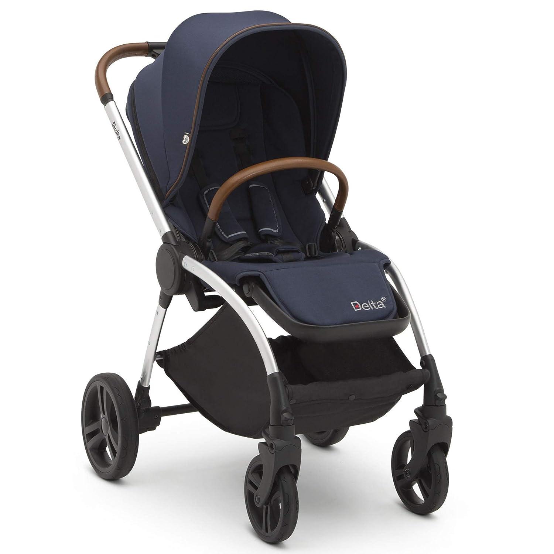 Delta Children Revolve Reversible Stroller - Lightweight Stroller Features One-Hand Fold, Adjustable Handlebar, Oversized Canopy, Recline & Shock Absorbing Frame, Navy