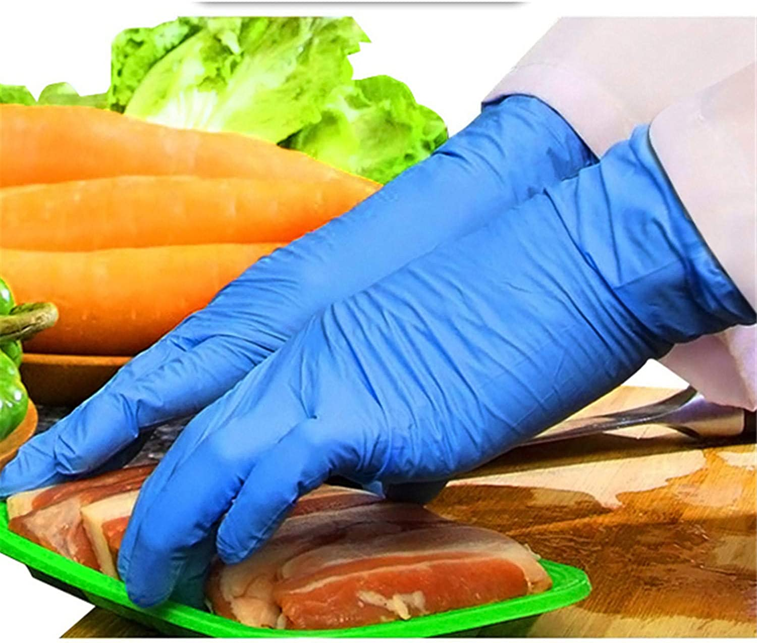 Andongnywell 100PCS Industrial Purple Nitrile Gloves Disposable Gloves Protective Gloves Safety Working Gloves Nitrilegloves