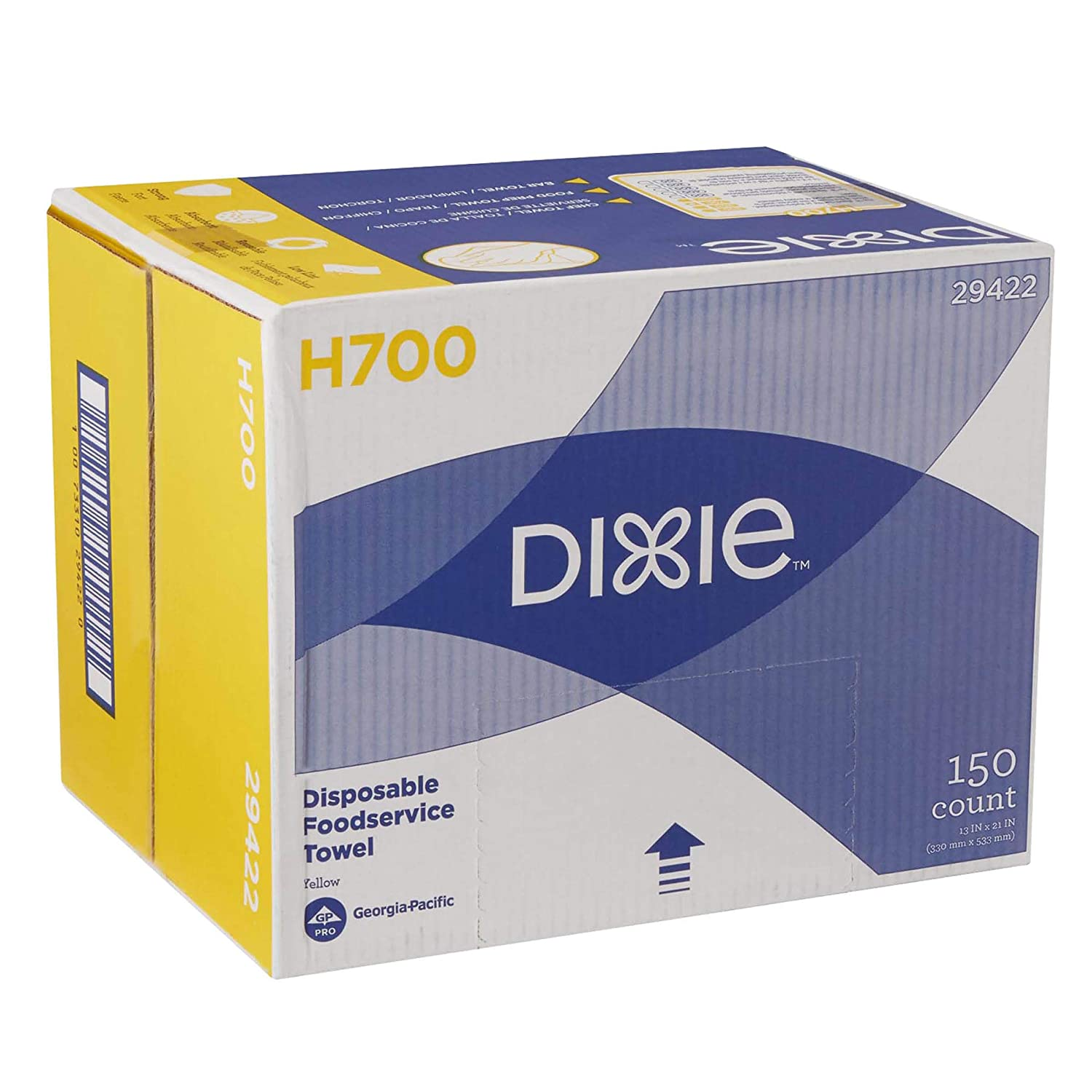 """Dixie H700 Disposable Foodservice Towel by GP PRO (Georgia-Pacific), 29422, Yellow, 150 Towels Per Case, Towel (WxL) 13"""" x 21"""""""