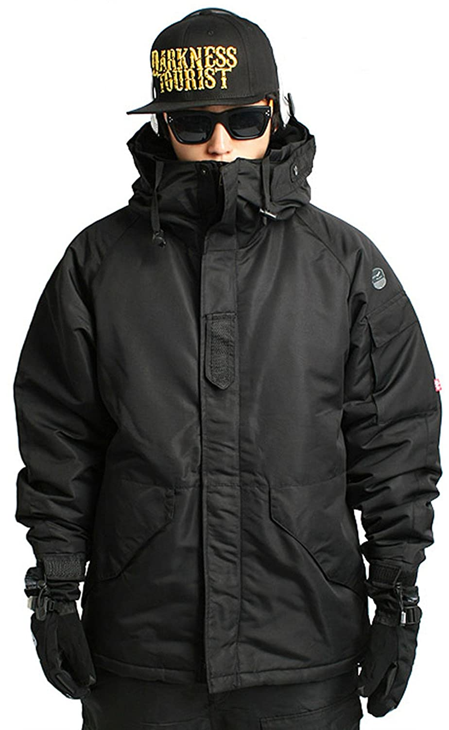 South Play Mens Waterproof Ski Snowboard Wear Jacket Jumper Solid Black