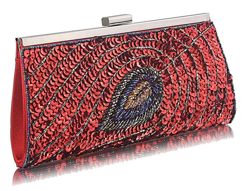 2142ad82b91 Stunning Luxury Red Peacock Design Clutch Bag | ON SALE FOR £24.99 ...