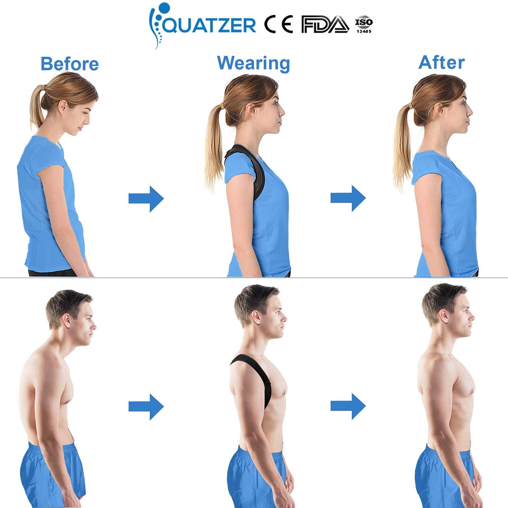 Haltungskorrektur und Rückentrainer für Herren und Frauen - Verstellbare Rückenbandage für gerade Schulterunterstützung - Unterstützung für Wirbelsäule, Nacken - kostenlose Tasche+Ebook+Elastikband