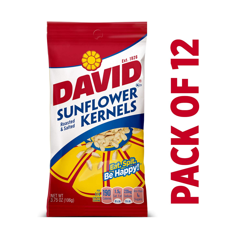DAVID Roasted and Salted Original Sunflower Kernels, 3.75 oz, 12 Pack by DAVID Seeds