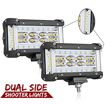 Dual Side Shooter LED Lights, Swatow Industries 2PCS 240W Osram 5 Inch LED Pod Lights Quad Row LED Fog Lights Off Road LED Cube Lights for Truck Tractor SUV ATV UTV Motorcycle Boat: Automotive [5Bkhe1506262]