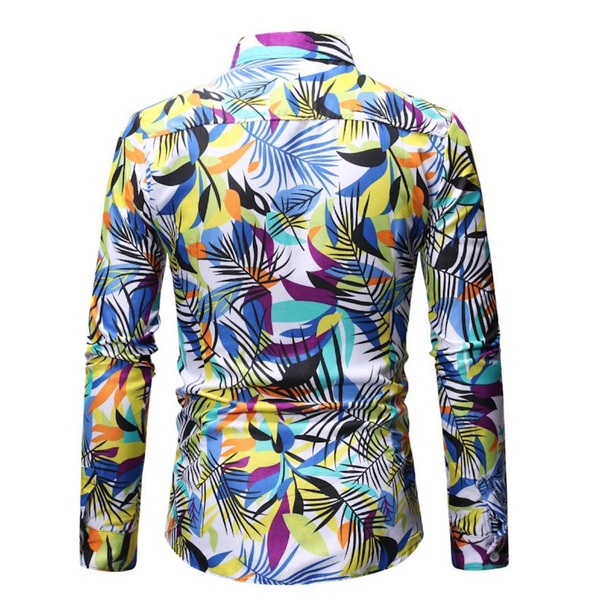 Men's Fashion Hip Hop Dress Shirt Long Sleeve Lapel Floral Print Slim Fit Casual Button Shirt Tops Fmeijia White by Fmeijia (Image #3)