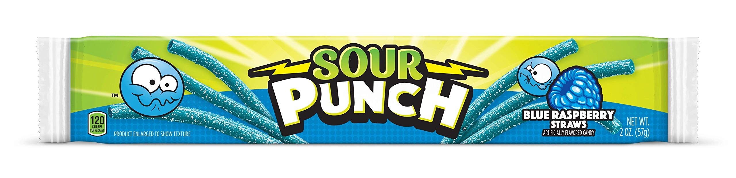 Sour Punch Straws, Sweet & Sour Blue Raspberry Flavored Soft, Chewy Candy, 2oz Tray (24 Pack) by Sour Punch