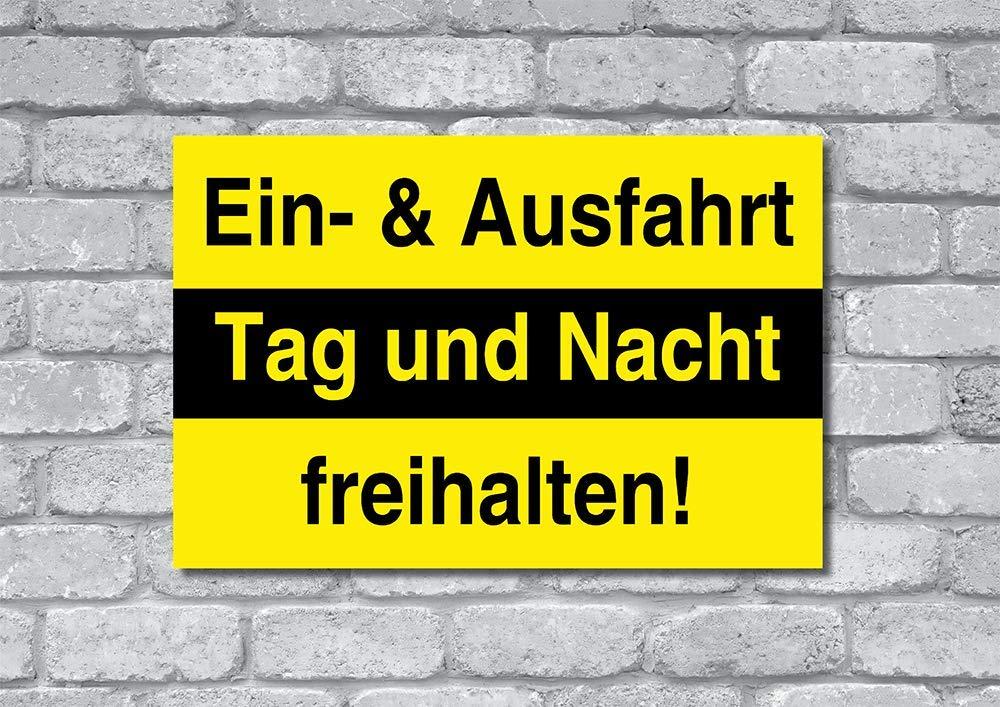 Ein- und Ausfahrt freihalten Schild Hartschaumplatte Hinweisschild 3mm 30 x 20 cm |Einfahrt /& Ausfahrt Tag und Nacht freihalten!
