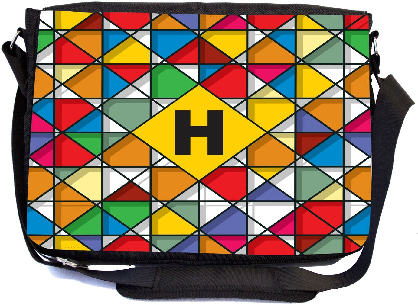 Rikki Knight Letter H Monogram Vibrant Colors Stained Glass Design Design Multifunctional Messenger Bag - School Bag - Laptop Bag - Includes Matching Compact Mirror