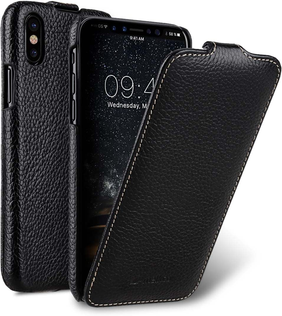 Melkco Premium Leather Vertical/Horizontal Flip Handmade Ultra Slim Case for Apple iPhone X - (Black LC)
