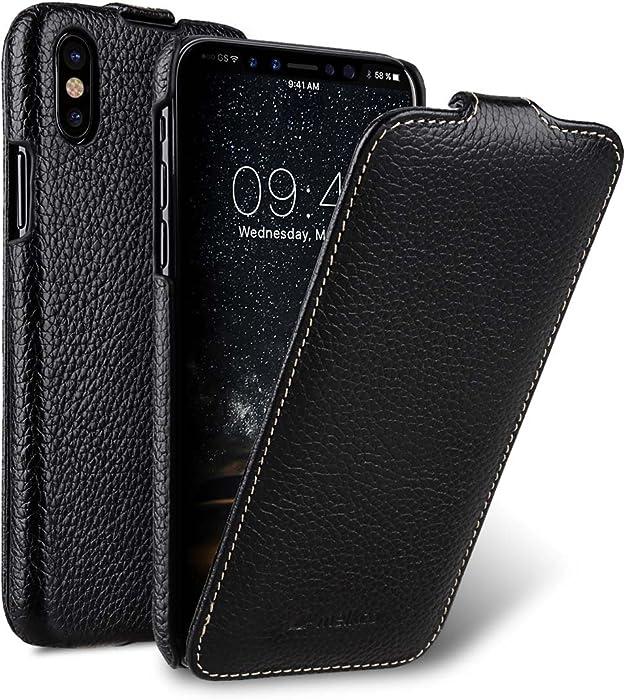 Melkco Premium Leather Vertical/Horizontal Flip Handmade Ultra Slim Case for Apple iPhone X - (Black LC)