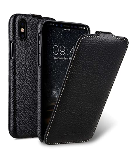 detailed look efd58 77ec8 Melkco Premium Leather Vertical / Horizontal Flip Handmade Ultra Slim Case  for Apple iPhone X - ( Black LC )