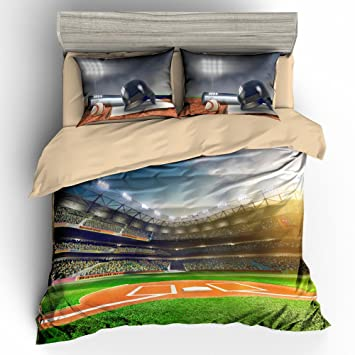 BOMCOM 3D Digital Printing Professional Baseball Grand Arena In The Sunlight 3 Piece Duvet Cover