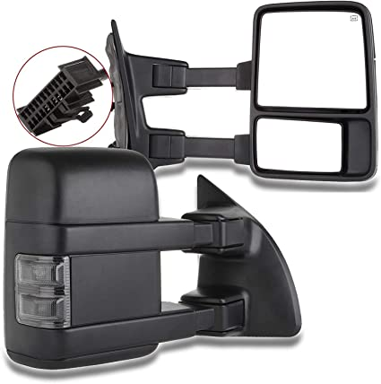 1999-2007 Ford F250 F350 F450 Smoked Power Heated LED Signal Towing Side Mirrors