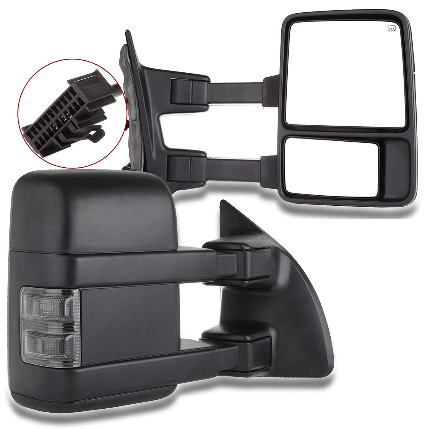 SCITOO Tow Mirrors fit 1999-2016 Ford F250 F350 F450 F550 Super Duty Pickup Manual LED Smoke Signals Lamps View Mirror Pair by SCITOO