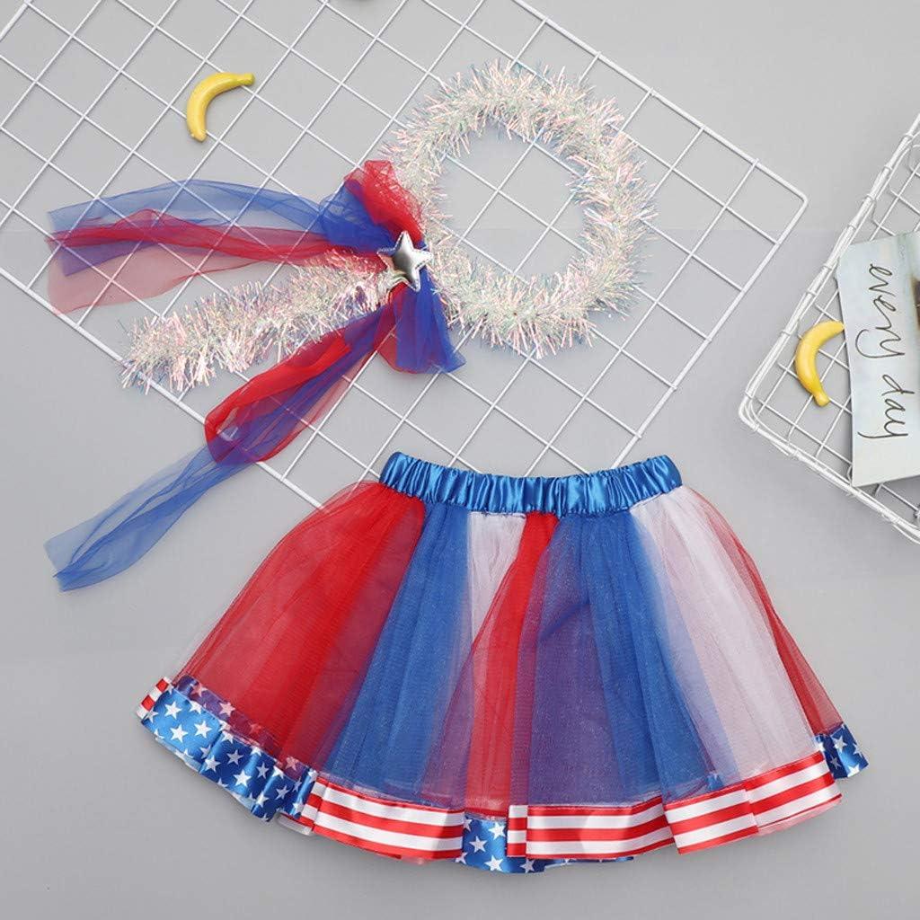 Matoen Kid Baby Girl Headband+Skirt Party Dance Ballet Star Stars Striped Patriotic Set 2PCS