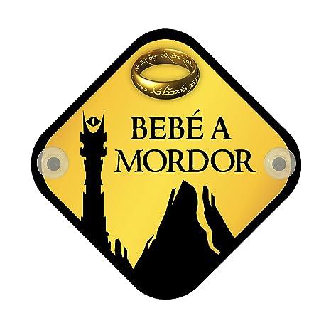 Cartel madera Bebé a bordo. Bebé a Mordor, parodia El Señor de los anillos. Bebé friki.
