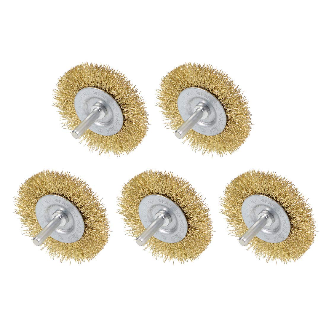 uxcell 2-1//2-Inch Wire Wheel Brush Bench Brass Plated Crimped Steel 1//4-Inch Shank 5 Pcs