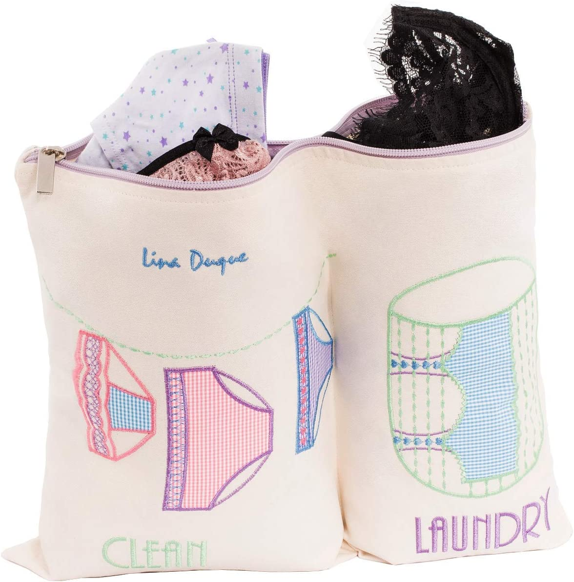 Lina Duque LIngerie bags for Laundry Suitcase organizer 2 Divisions Clean and Dirty Clothes Size 16x12.5 inches