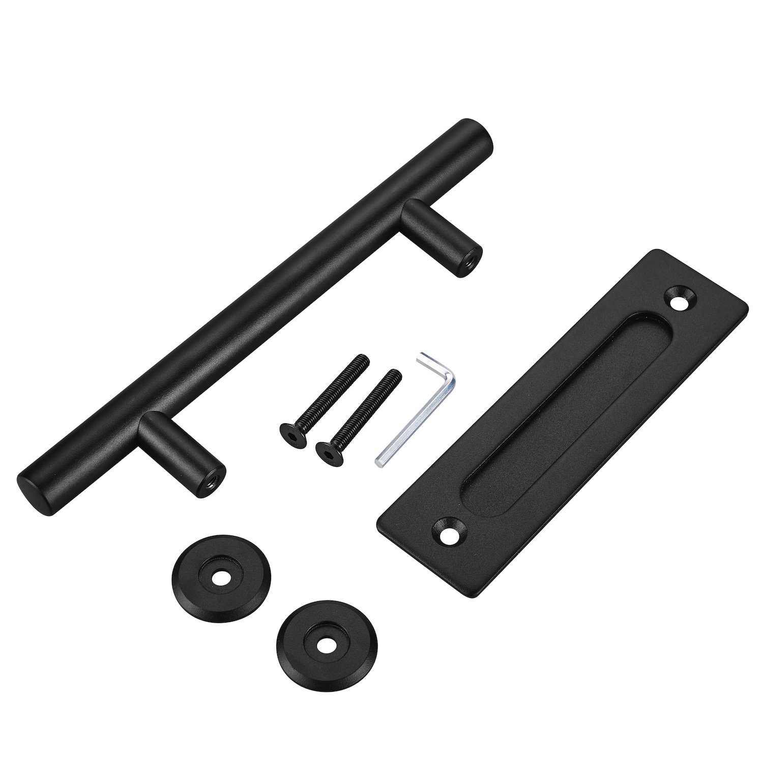 FaithLand 12'' Heavy Duty Pull and Flush Door Handle Set in Black, Sliding Barn Door Hardware Handle