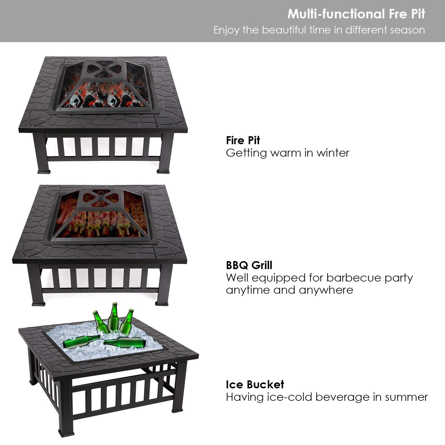 Large Outdoor Garden Fire Pit Firepit Brazier Stove Patio Heater BBQ Grill Steel