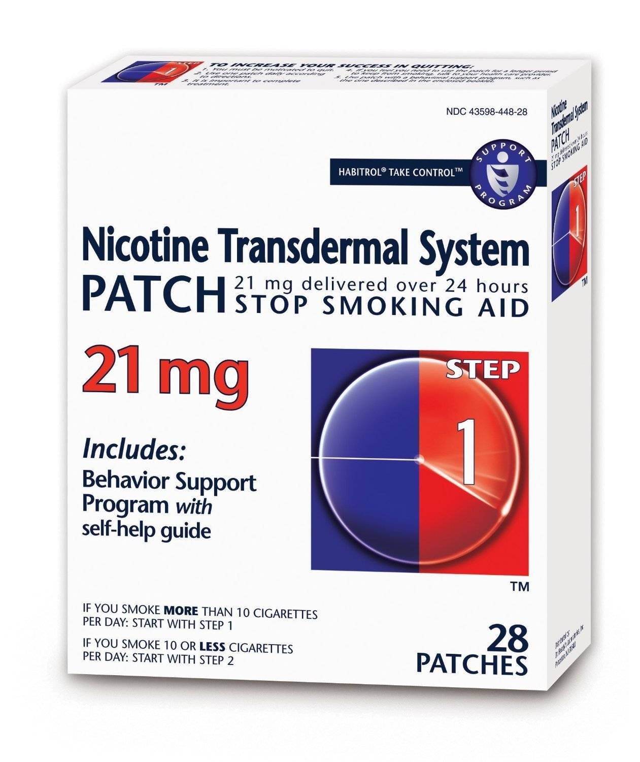 Habitrol Nicotine Transdermal System Stop Smoking Aid, Step 1 (21 mg), 28 Patches Per Box (2 pack)