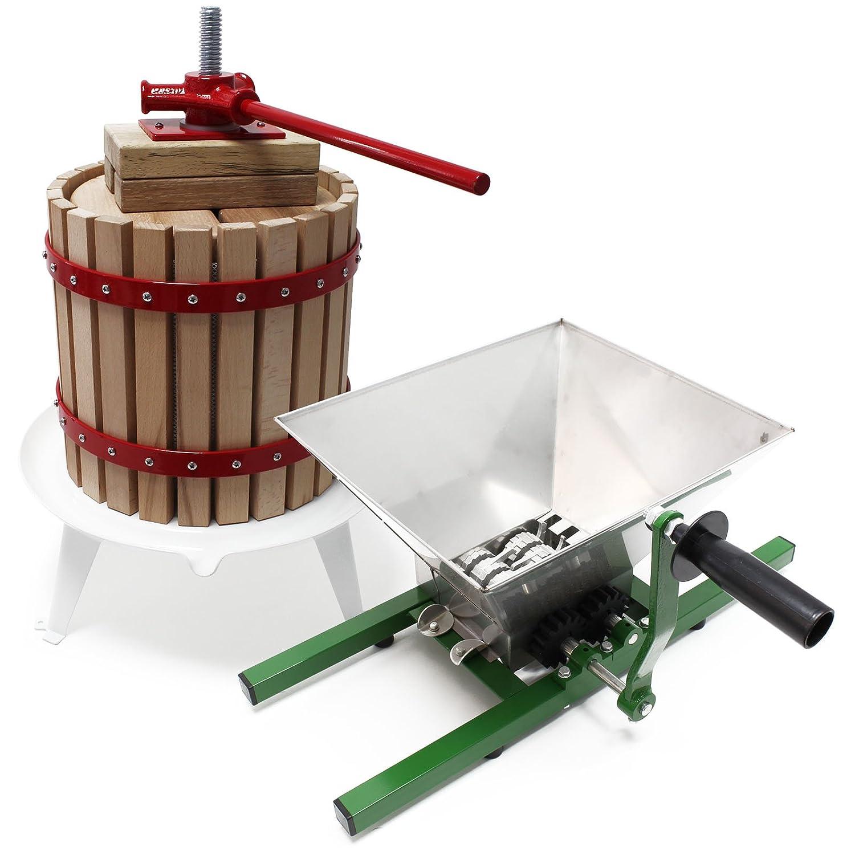 Wiltec Obstpresse 18l inkl Presstuch und Obstm/ühle 7l zur Maischeherstellung