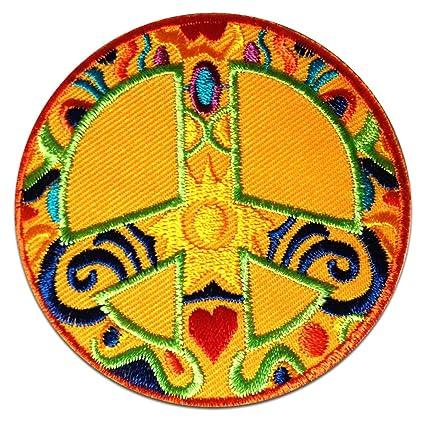 Orange Peace Patterns Heart Sun Symbol Patch '' 7,5 x 7,5 cm