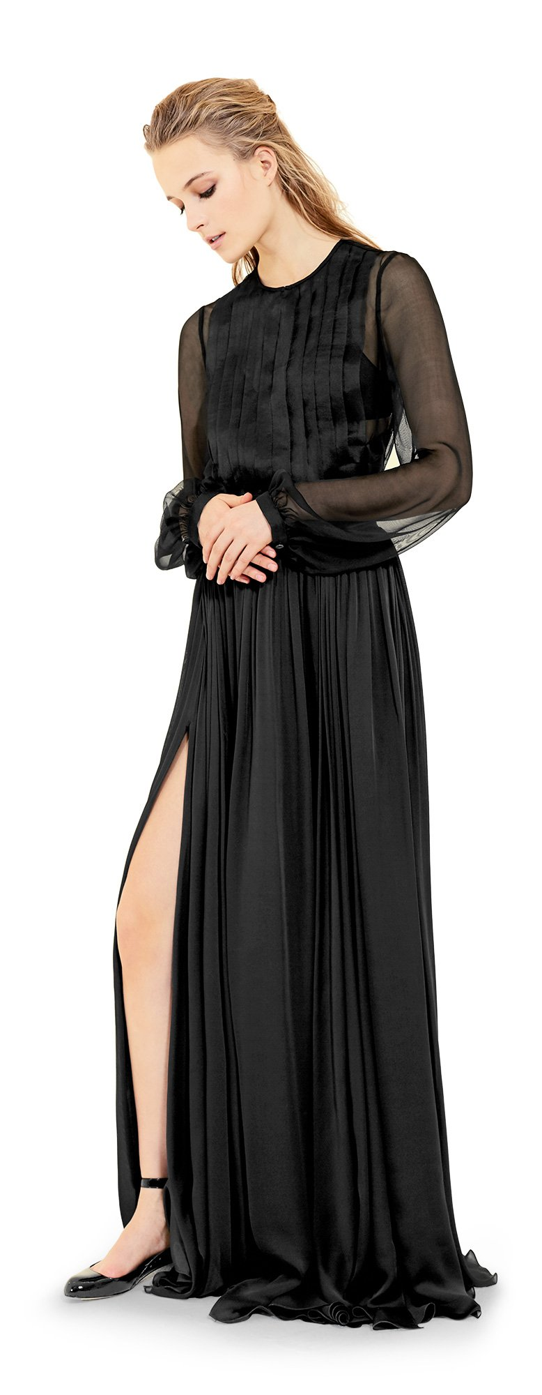 MAXSTUDIO Silk Georgette Floor Length Skirt - 6101X19-BLACK-6